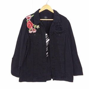 One 5 One Rose Embroidered Distressed Jean Jacket